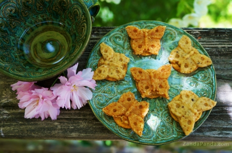 Chipotle-Honey Goat Cheese and Almond Butterflies made with ZANDA PANDA's Kaleidoscope Butterfly Mold